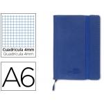 Liderpapel LD01 - Libreta encolada, tapa símil piel, tamaño A6, 120 hojas de 70 gr, cuadrícula de 4 mm, sin margen, color azul
