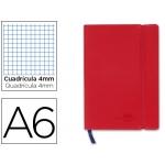 Liderpapel LD03 - Libreta encolada, tapa símil piel, tamaño A6, 120 hojas de 70 gr, cuadrícula de 4 mm, sin margen, color rojo