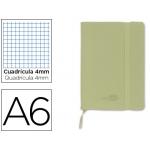 Libreta Liderpapel simil piel tamaño A6 120 hojas 70 gr/m2 cuadrícula de 5 mm sin margen verde