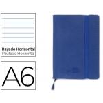 Libreta Liderpapel simil piel tamaño A6 120 hojas 70 gr/m2 horizontal sin margen azul