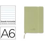 Libreta Liderpapel simil piel tamaño A6 120 hojas 70 gr/m2 horizontal sin margen verde