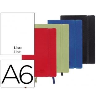 Libreta Liderpapel simil piel tamaño A6 120 hojas 70 gr/m2 liso colores surtidos