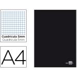 Libreta Liderpapel tapa negra tamaño A4 80 hojas 60 gr/m2 cuadrícula de 5 mm con margen