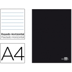 Libreta Liderpapel tapa negra tamaño A4 80 hojas 60 gr/m2 horizontal con margen