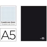 Libreta Liderpapel tapa negra tamaño A5 80 hojas 60 gr/m2 cuadrícula de 5 mm con margen