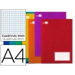 Liderpapel Smart LA01 - Libreta grapada, tamaño A4, tapa blanda, 32 hojas de 60 gr, cuadrícula de 4 mm, con margen, colores surtidos