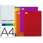 Liderpapel Smart LA02 - Libreta grapada, tamaño A4, tapa blanda, 80 hojas de 60 gr, cuadrícula de 4 mm, con margen, colores surtidos