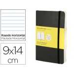 Libreta Moleskine tapa blanda rayado horizontal 192 hojas color negro cierre con goma 90x140 mm
