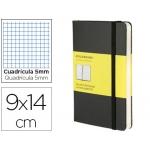 Libreta Moleskine tapa dura cuadrícula de 5 mm 192 hojas color negro cierre con goma 90x140 mm