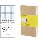 Libreta Moleskine tapa dura cuadrícula de 5 mm 64 hojas con 16 hojas desmontables color kraftpack de 3 unidades 90x140 mm