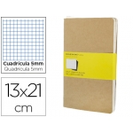 Libreta Moleskine tapa dura cuadrícula de 5 mm 80 hojas con 16 hojas desmontables color kraftpack de 3 unidades 130x210 mm