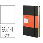 Libreta Moleskine tapa dura índice 192 hojas color negro cierre con goma 90x140 mm