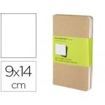 Libreta Moleskine tapa dura liso 64 hojas con 16 hojas desmontables color kraft pack de 3 unidades 90x140 mm