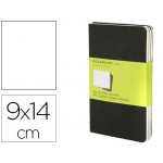 Libreta Moleskine tapa dura liso 64 hojas con 16 hojas desmontables color negro pack de 3 unidades 90x140 mm