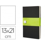 Libreta Moleskine tapa dura liso 80 hojas con 16 hojas desmontables color negro pack de 3 unidades 130x210 mm
