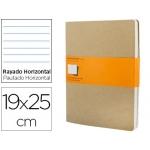 Libreta Moleskine tapa dura rayado horizontal 120 hojas 16hojas desmontables color kraftpack de 3 unidades 190x250 mm