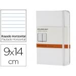 Libreta Moleskine tapa dura rayado horizontal 192 hojas color blanco cierre con goma 90x140 mm
