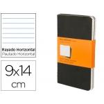 Libreta Moleskine tapa dura rayado horizontal 64 hojas 16 hojas desmontables color negropack de 3 unidades 90x140 mm