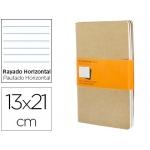 Libreta Moleskine tapa dura rayado horizontal 80 hojas 16 hojas desmontables color kraftpack de 3 unidades 130x210 mm