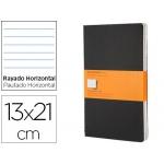Libreta Moleskine tapa dura rayado horizontal 80 hojas 16 hojas desmontables color negropack de 3 unidades 130x210 mm