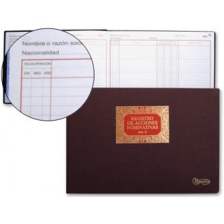 Miquelrius 5075 - Libro de registro de acciones nominativas, Nº 75, tamaño folio apaisado, 100 hojas