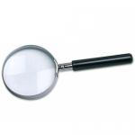 Lupa cristal aro metálico mango color negro 75 mm