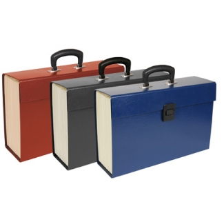 Liderpapel MF01 - Maletín clasificador con fuelle y asa, cartón forrado, tamaño folio, colores surtidos