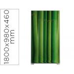 Mampara separadora easyscreen con marco aluminio y panel de tela decorado bambu
