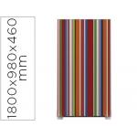 Mampara separadora easyscreen con marco aluminio y panel de tela decorado rayas