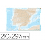 Mapa mudo b/n tamaño A4 españa fisico