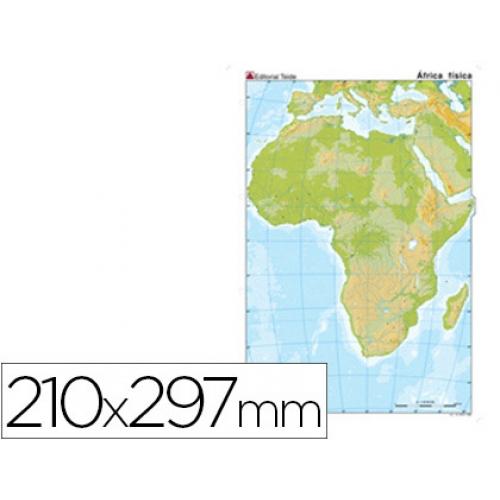 Mapa Mudo Color Tamaño A4 Africa Fisico Papelería Distrimar