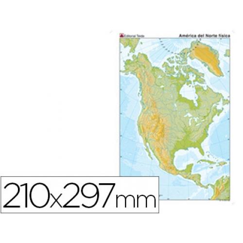 Mapa Mudo Color Tamaño A4 America Norte Fisico Papelería Distrimar
