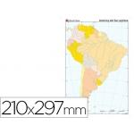 Mapa mudo color tamaño A4 america sur político