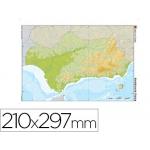 Mapa mudo color tamaño A4 andalucia fisico
