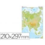 Mapa mudo color tamaño A4 asia fisico