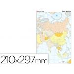 Mapa mudo color tamaño A4 asia político