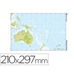 Mapa mudo color tamaño A4 oceania fisico