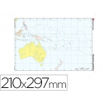 Mapa mudo color tamaño A4 oceania político