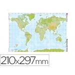 Mapa mudo color tamaño A4 planisferio fisico