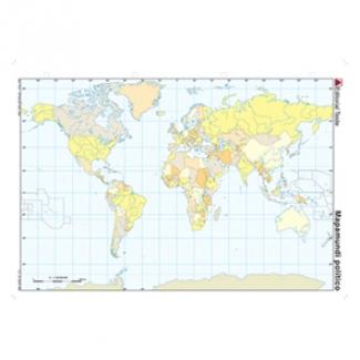 Mapa mudo color tamaño A4 planisferio político