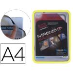 Marco porta anuncios Tarifold magneto tamaño A4 con 4 bandas magnéticas en el dorso color amarillo pack de 2 unidades