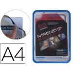 Marco porta anuncios Tarifold magneto tamaño A4 con 4 bandas magnéticas en el dorso color azul pack de 2 unidades
