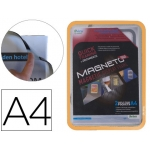 Marco porta anuncios Tarifold magneto tamaño A4 con 4 bandas magnéticas en el dorso color naranja pack de 2 unidades