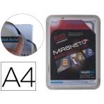 Marco porta anuncios Tarifold magneto tamaño A4 con 4 bandas magnéticas en el dorso color plata pack de 2 unidades