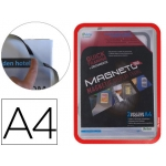 Marco porta anuncios Tarifold magneto tamaño A4 con 4 bandas magnéticas en el dorso color rojo pack de 2 unidades
