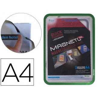 Marco porta anuncios Tarifold magneto tamaño A4 con 4 bandas magnéticas en el dorso color verde pack de 2 unidades