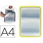 Marco porta anuncios Tarifold magneto tamaño A4 dorso adhesivo removible color amarillo pack de 2 unidades