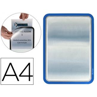 Marco porta anuncios Tarifold magneto tamaño A4 dorso adhesivo removible color azul pack de 2 unidades