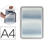 Marco porta anuncios Tarifold magneto tamaño A4 dorso adhesivo removible color gris pack de 2 unidades