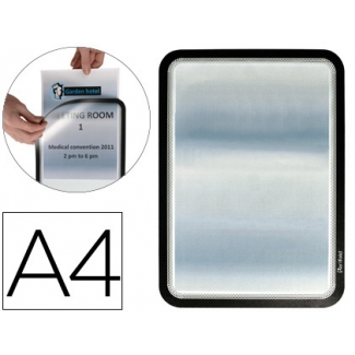 Marco porta anuncios Tarifold magneto tamaño A4 dorso adhesivo removible color negro pack de 2 unidades